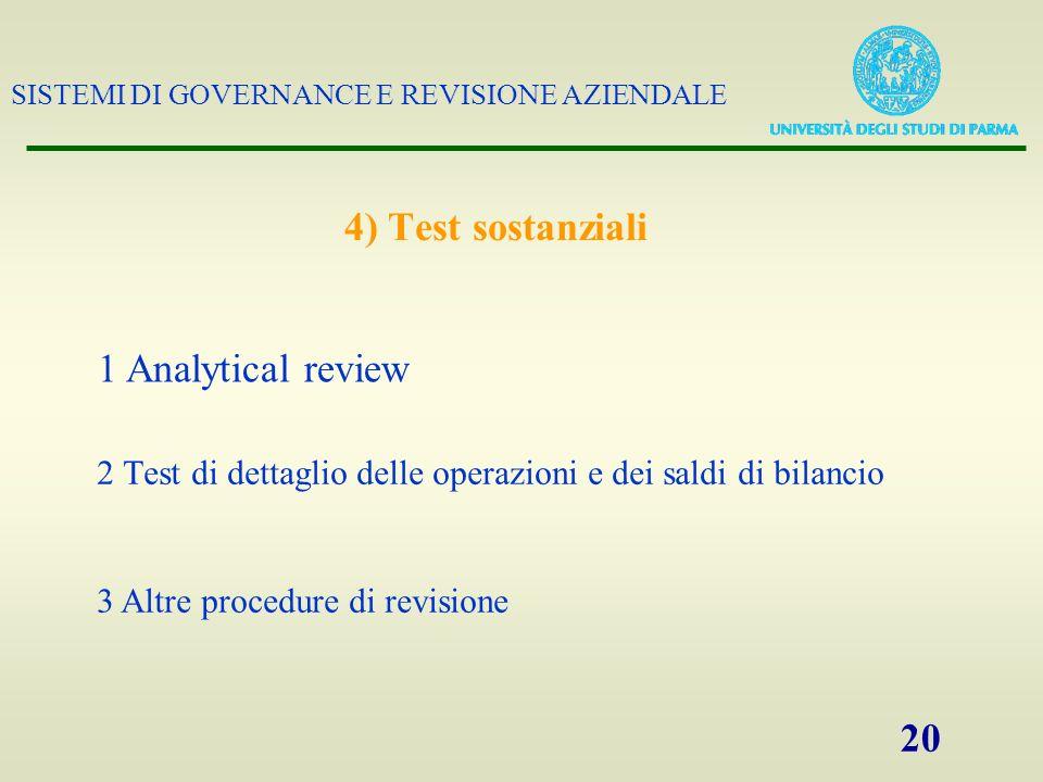 SISTEMI DI GOVERNANCE E REVISIONE AZIENDALE 20 4) Test sostanziali 2 Test di dettaglio delle operazioni e dei saldi di bilancio 1 Analytical review 3