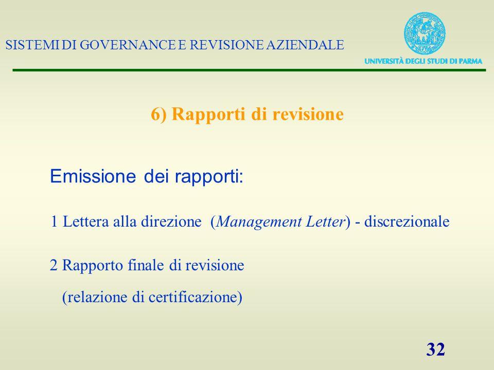 SISTEMI DI GOVERNANCE E REVISIONE AZIENDALE 32 6) Rapporti di revisione 1 Lettera alla direzione (Management Letter) - discrezionale Emissione dei rap