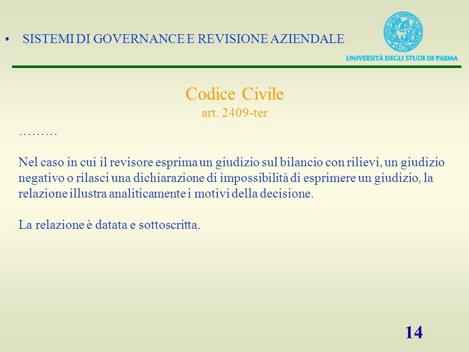 SISTEMI DI GOVERNANCE E REVISIONE AZIENDALE 14 Codice Civile art. 2409-ter ……… Nel caso in cui il revisore esprima un giudizio sul bilancio con riliev