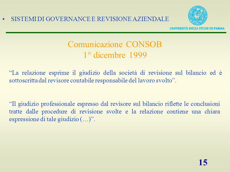 SISTEMI DI GOVERNANCE E REVISIONE AZIENDALE 15 Comunicazione CONSOB 1° dicembre 1999 La relazione esprime il giudizio della società di revisione sul b