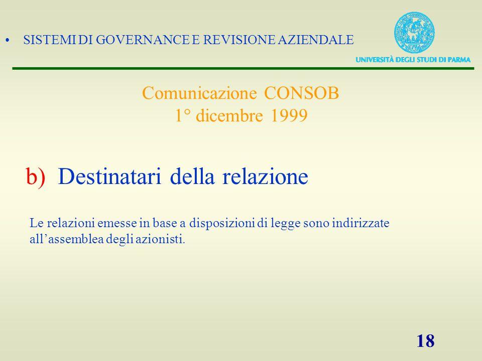 SISTEMI DI GOVERNANCE E REVISIONE AZIENDALE 18 Le relazioni emesse in base a disposizioni di legge sono indirizzate allassemblea degli azionisti. b)De