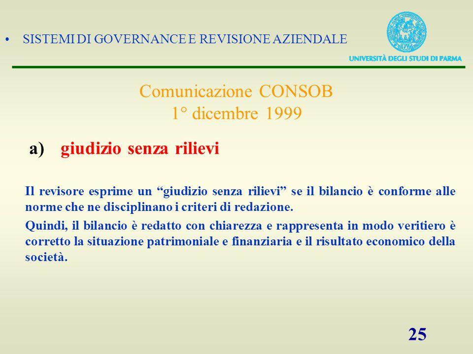 SISTEMI DI GOVERNANCE E REVISIONE AZIENDALE 25 Il revisore esprime un giudizio senza rilievi se il bilancio è conforme alle norme che ne disciplinano