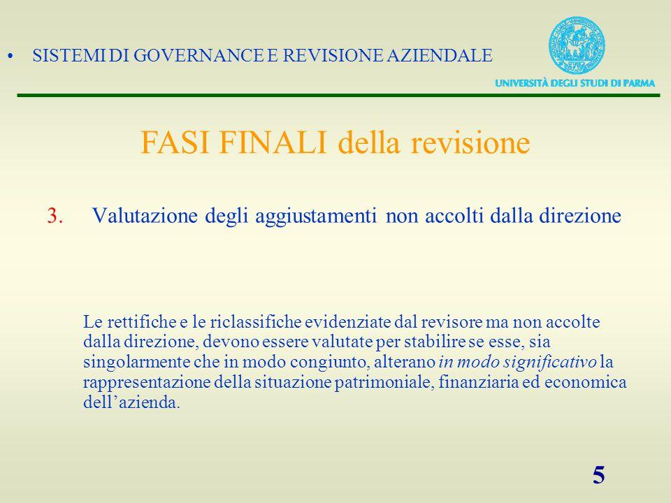 SISTEMI DI GOVERNANCE E REVISIONE AZIENDALE 5 3.Valutazione degli aggiustamenti non accolti dalla direzione Le rettifiche e le riclassifiche evidenzia