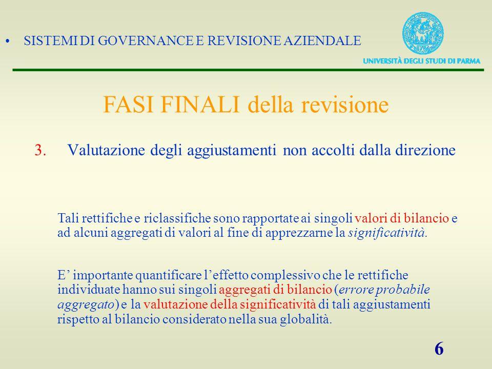 SISTEMI DI GOVERNANCE E REVISIONE AZIENDALE 6 3.Valutazione degli aggiustamenti non accolti dalla direzione Tali rettifiche e riclassifiche sono rappo
