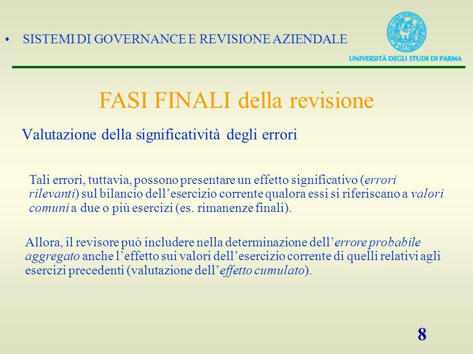 SISTEMI DI GOVERNANCE E REVISIONE AZIENDALE 8 Tali errori, tuttavia, possono presentare un effetto significativo (errori rilevanti) sul bilancio delle