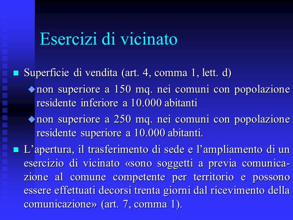 Esercizi di vicinato n Superficie di vendita (art. 4, comma 1, lett. d) u non superiore a 150 mq. nei comuni con popolazione residente inferiore a 10.