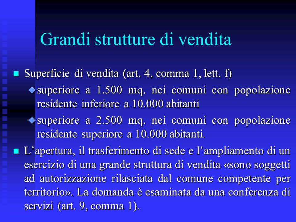 Grandi strutture di vendita n Superficie di vendita (art. 4, comma 1, lett. f) u superiore a 1.500 mq. nei comuni con popolazione residente inferiore
