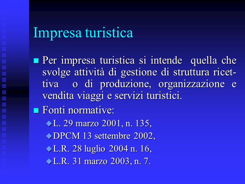 Impresa turistica n Per impresa turistica si intende quella che svolge attività di gestione di struttura ricet- tiva o di produzione, organizzazione e