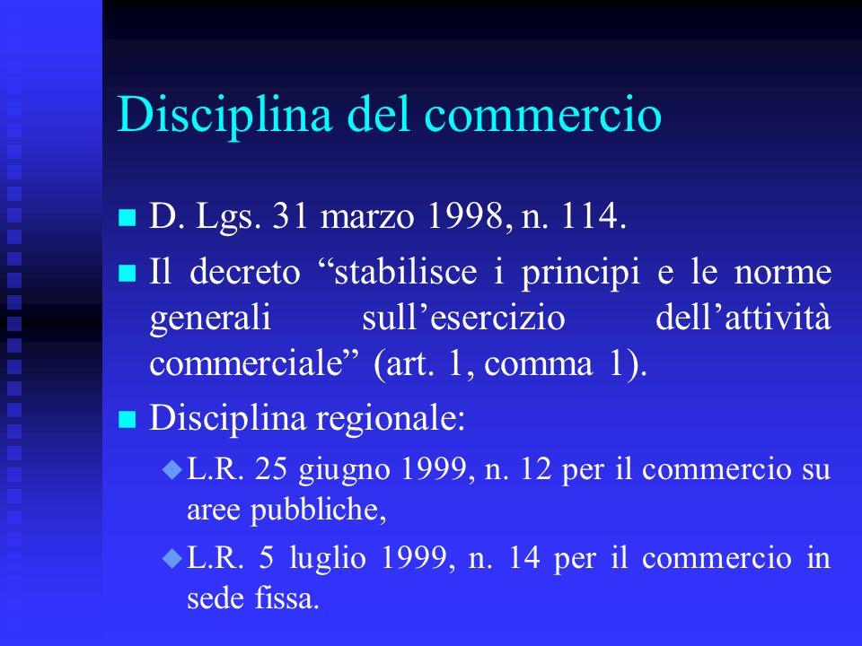 Disciplina del commercio n n D. Lgs. 31 marzo 1998, n. 114. n n Il decreto stabilisce i principi e le norme generali sullesercizio dellattività commer