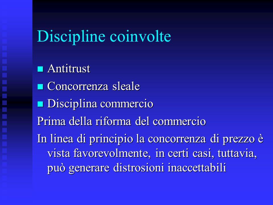 Discipline coinvolte n Antitrust n Concorrenza sleale n Disciplina commercio Prima della riforma del commercio In linea di principio la concorrenza di