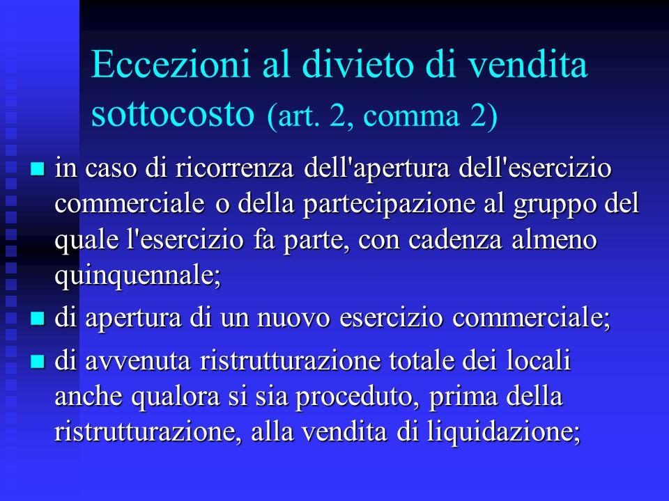 Eccezioni al divieto di vendita sottocosto (art. 2, comma 2) n in caso di ricorrenza dell'apertura dell'esercizio commerciale o della partecipazione a