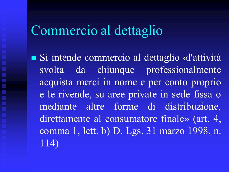 Commercio al dettaglio n n Si intende commercio al dettaglio «l'attività svolta da chiunque professionalmente acquista merci in nome e per conto propr