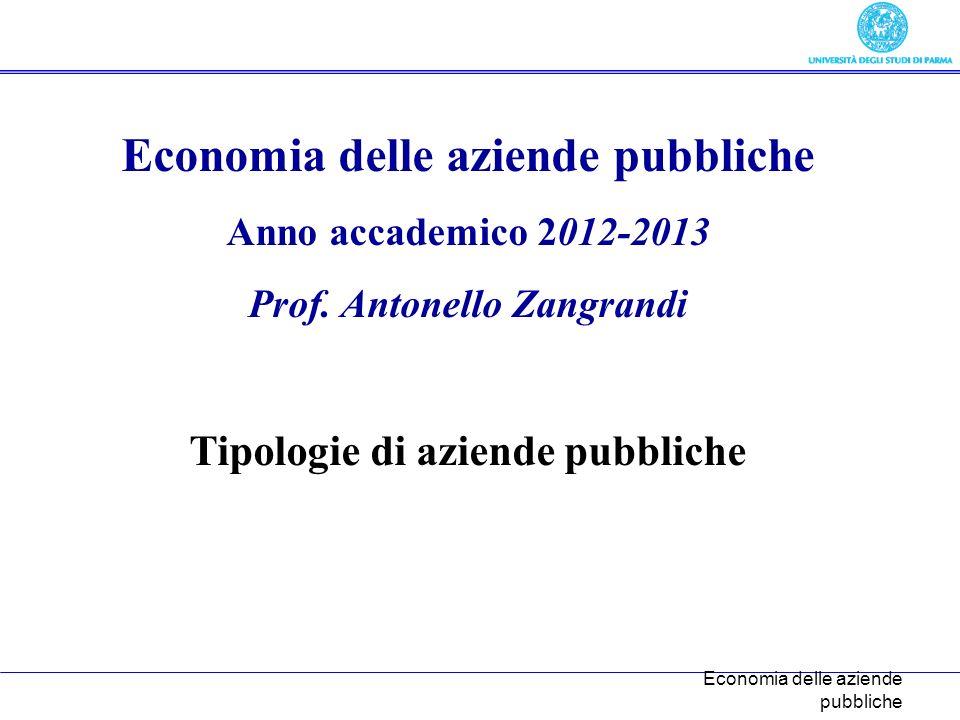 Economia delle aziende pubbliche Anno accademico 2012-2013 Prof.