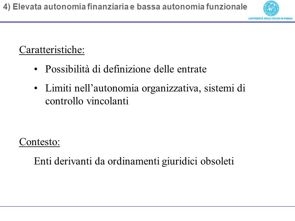 4) Elevata autonomia finanziaria e bassa autonomia funzionale Caratteristiche: Possibilità di definizione delle entrate Limiti nellautonomia organizzativa, sistemi di controllo vincolanti Contesto: Enti derivanti da ordinamenti giuridici obsoleti