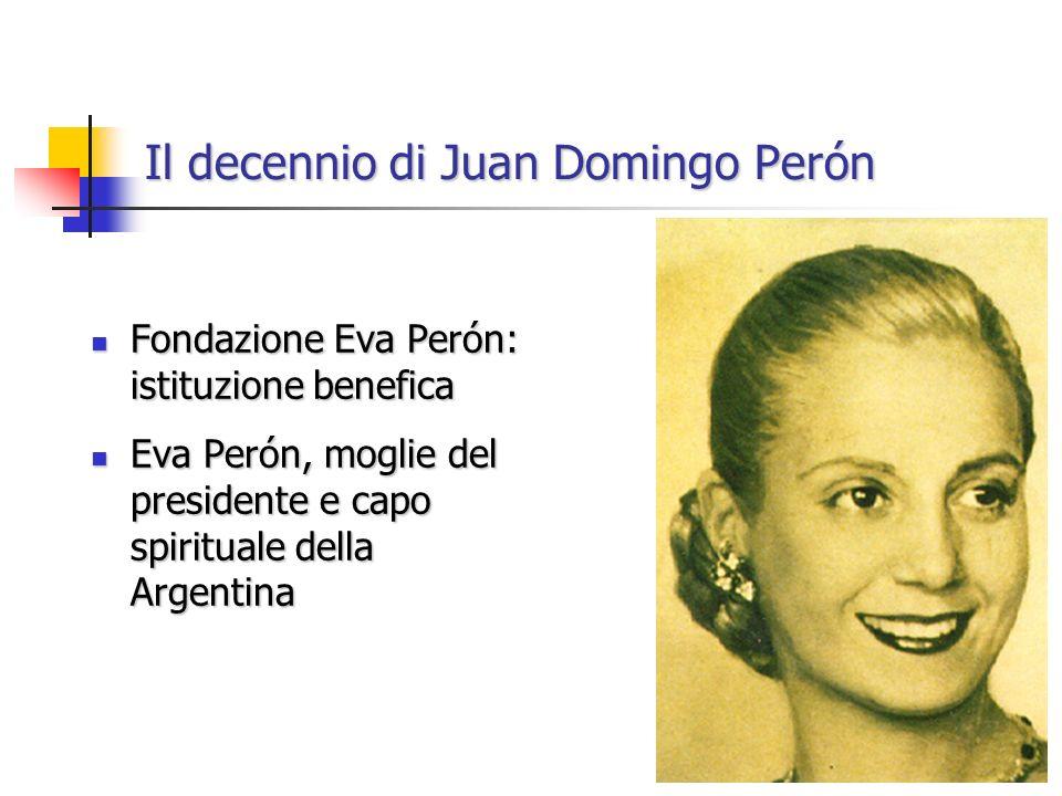Il decennio di Juan Domingo Perón Fondazione Eva Perón: istituzione benefica Fondazione Eva Perón: istituzione benefica Eva Perón, moglie del presidente e capo spirituale della Argentina Eva Perón, moglie del presidente e capo spirituale della Argentina