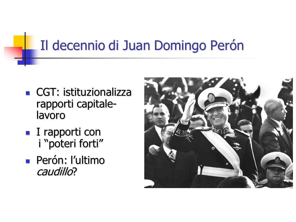 Il decennio di Juan Domingo Perón CGT: istituzionalizza rapporti capitale- lavoro CGT: istituzionalizza rapporti capitale- lavoro I rapporti con I rap