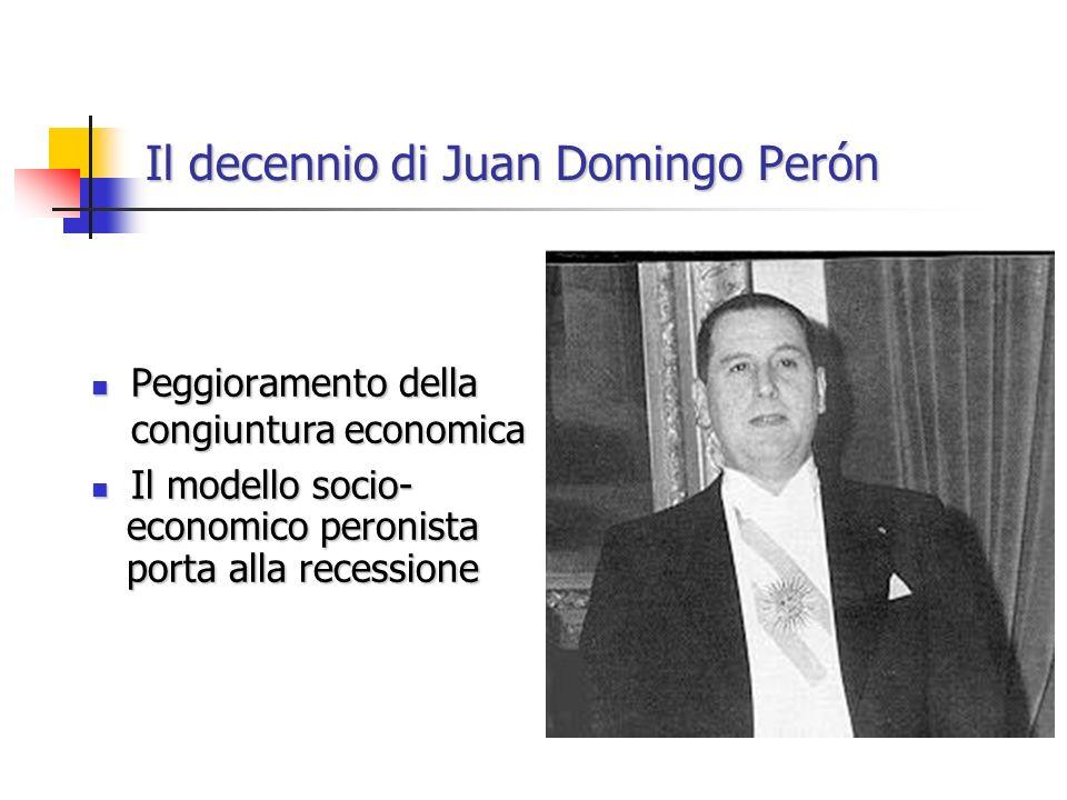 Il decennio di Juan Domingo Perón Peggioramento della congiuntura economica Peggioramento della congiuntura economica Il modello socio- Il modello socio- economico peronista economico peronista porta alla recessione porta alla recessione