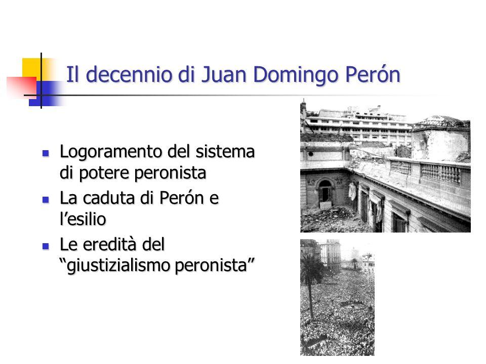 Il decennio di Juan Domingo Perón Logoramento del sistema di potere peronista Logoramento del sistema di potere peronista La caduta di Perón e lesilio La caduta di Perón e lesilio Le eredità del giustizialismo peronista Le eredità del giustizialismo peronista