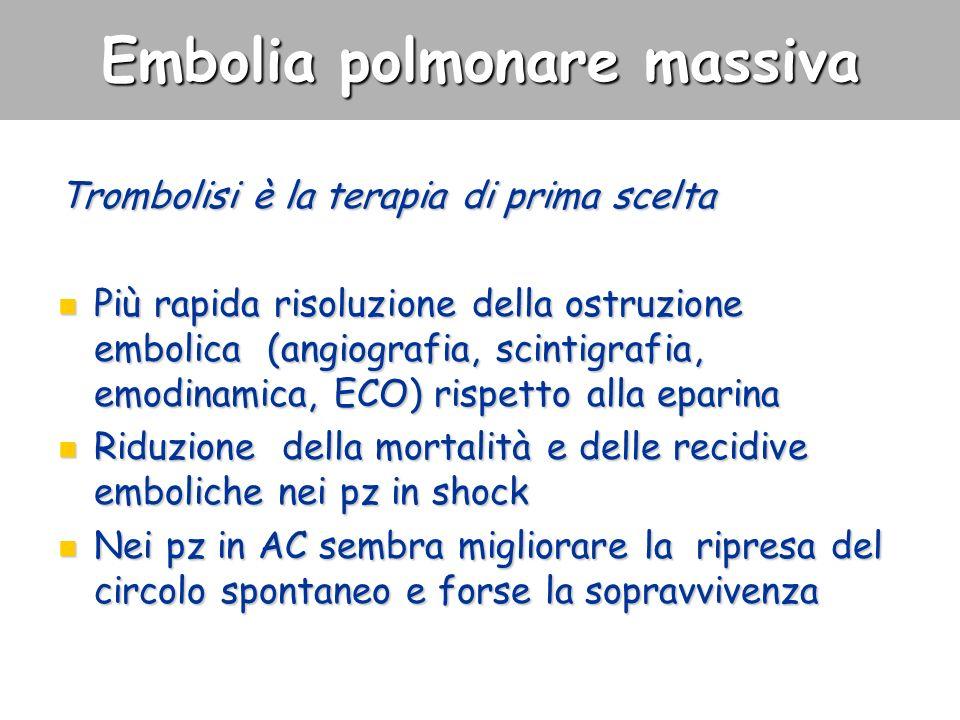 Embolia polmonare massiva Trombolisi è la terapia di prima scelta Più rapida risoluzione della ostruzione embolica (angiografia, scintigrafia, emodina