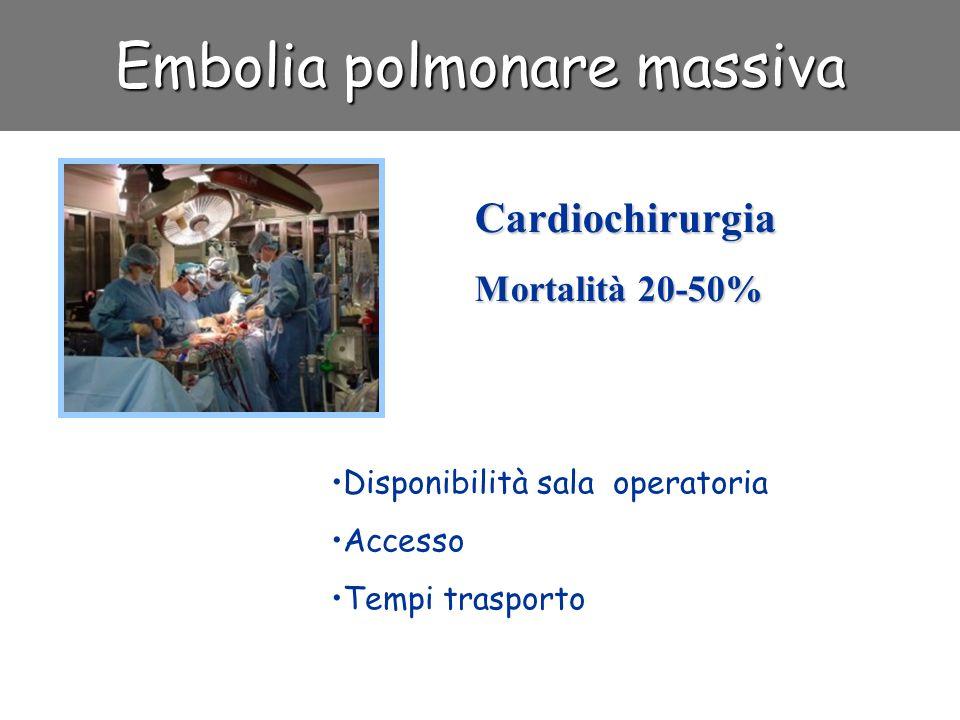 Embolia polmonare massiva Cardiochirurgia Mortalità 20-50% Disponibilità sala operatoria Accesso Tempi trasporto