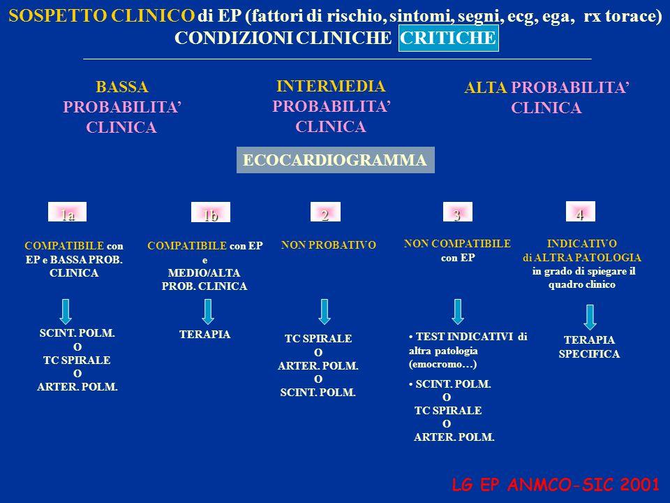 SOSPETTO CLINICO di EP (fattori di rischio, sintomi, segni, ecg, ega, rx torace) CONDIZIONI CLINICHE CRITICHE BASSA PROBABILITA CLINICA INTERMEDIA PRO