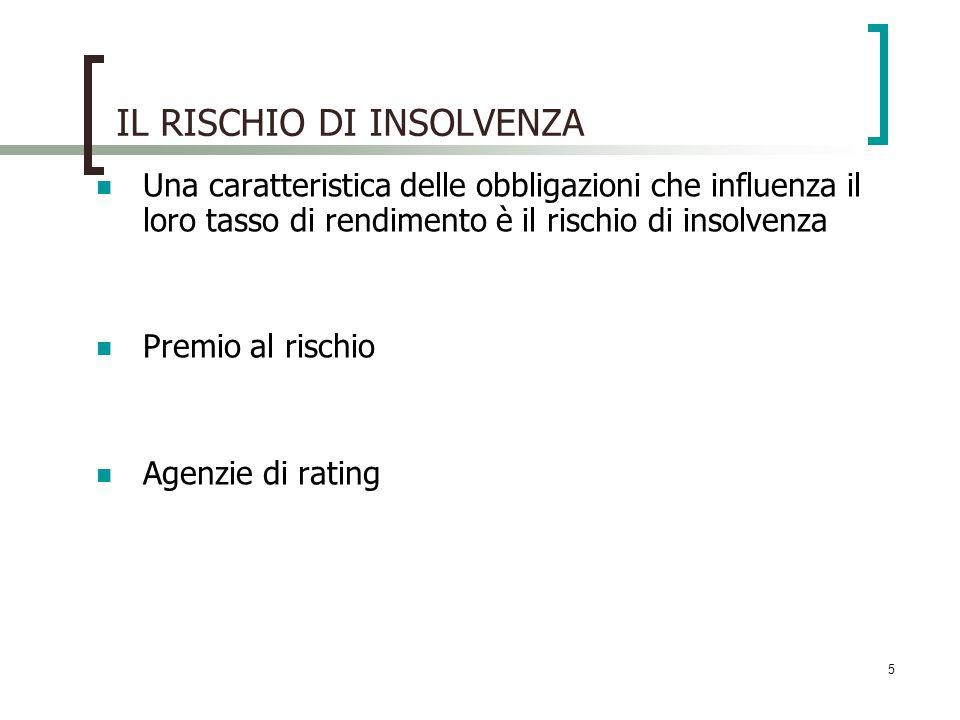 5 IL RISCHIO DI INSOLVENZA Una caratteristica delle obbligazioni che influenza il loro tasso di rendimento è il rischio di insolvenza Premio al rischi