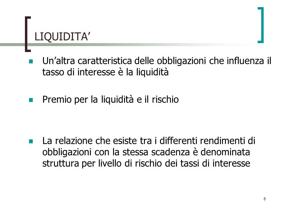8 LIQUIDITA Unaltra caratteristica delle obbligazioni che influenza il tasso di interesse è la liquidità Premio per la liquidità e il rischio La relaz