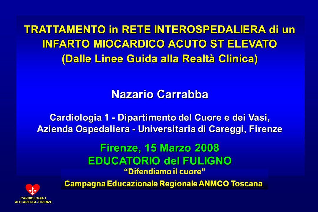 CARDIOLOGIA 1 AO CAREGGI - FIRENZE TRATTAMENTO in RETE INTEROSPEDALIERA di un INFARTO MIOCARDICO ACUTO ST ELEVATO (Dalle Linee Guida alla Realtà Clini