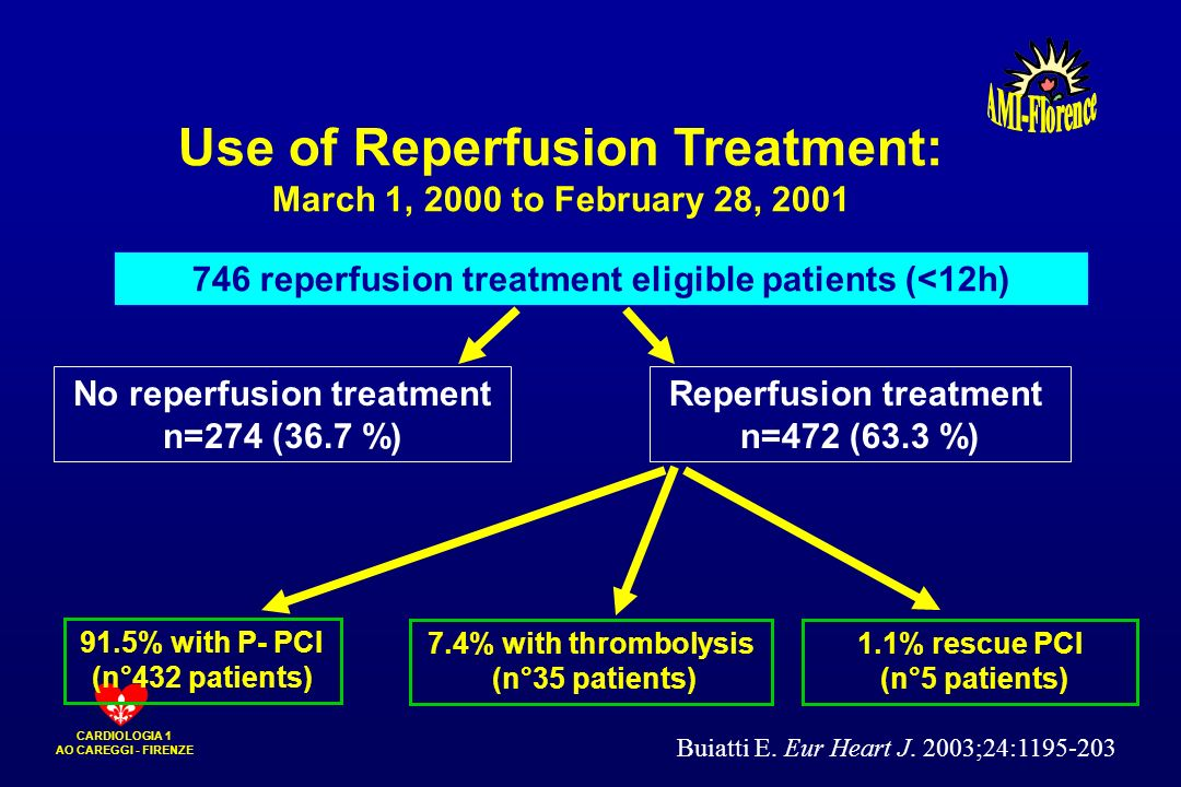 CARDIOLOGIA 1 AO CAREGGI - FIRENZE No reperfusion treatment n=274 (36.7 %) Reperfusion treatment n=472 (63.3 %) 7.4% with thrombolysis (n°35 patients)