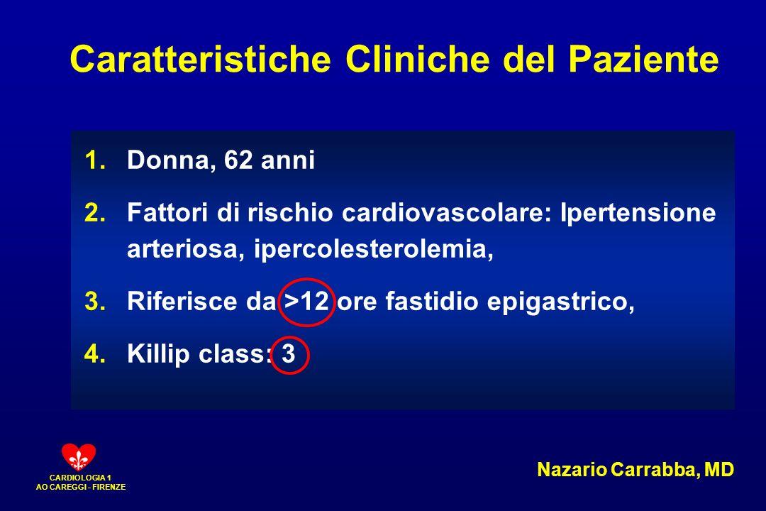 CARDIOLOGIA 1 AO CAREGGI - FIRENZE 1.Donna, 62 anni 2.Fattori di rischio cardiovascolare: Ipertensione arteriosa, ipercolesterolemia, 3.Riferisce da >