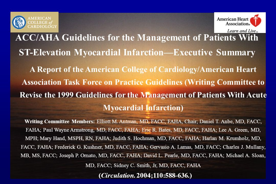 CARDIOLOGIA 1 AO CAREGGI - FIRENZE ACC/AHA Guidelines for the Management of Patients With ST-Elevation Myocardial InfarctionExecutive Summary A Report