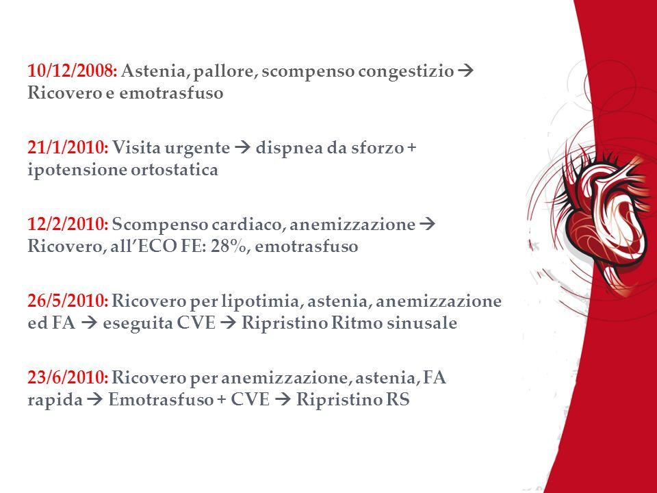 10/12/2008: Astenia, pallore, scompenso congestizio Ricovero e emotrasfuso 21/1/2010: Visita urgente dispnea da sforzo + ipotensione ortostatica 12/2/