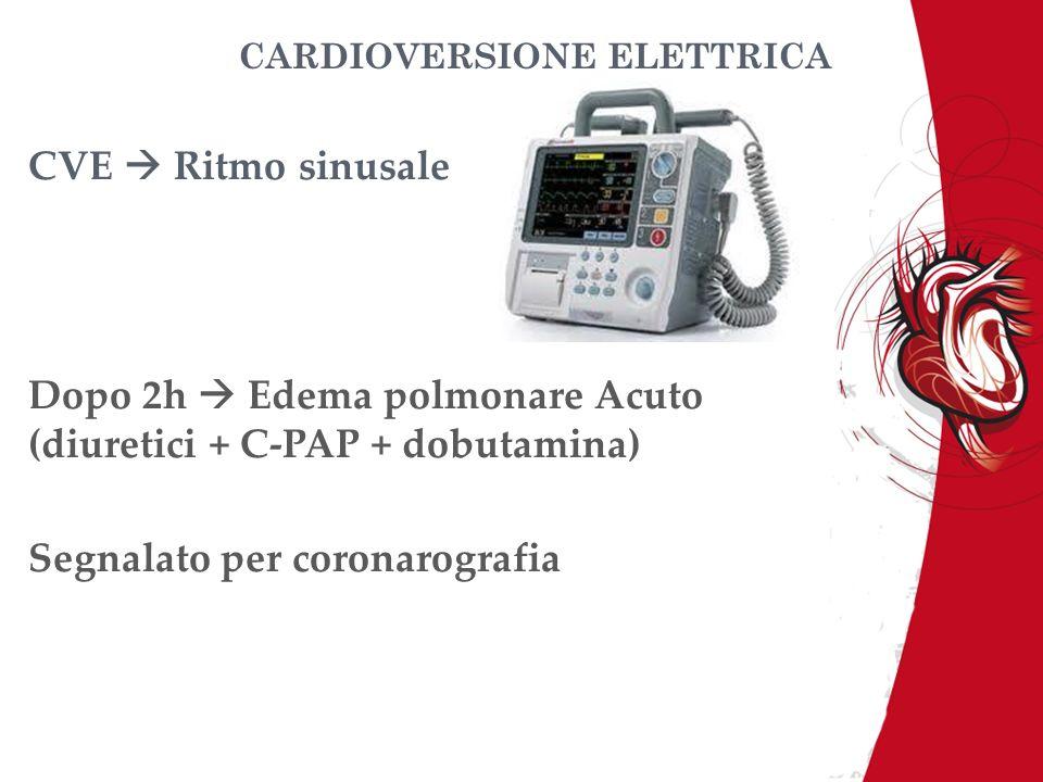 CARDIOVERSIONE ELETTRICA CVE Ritmo sinusale Dopo 2h Edema polmonare Acuto (diuretici + C-PAP + dobutamina) Segnalato per coronarografia