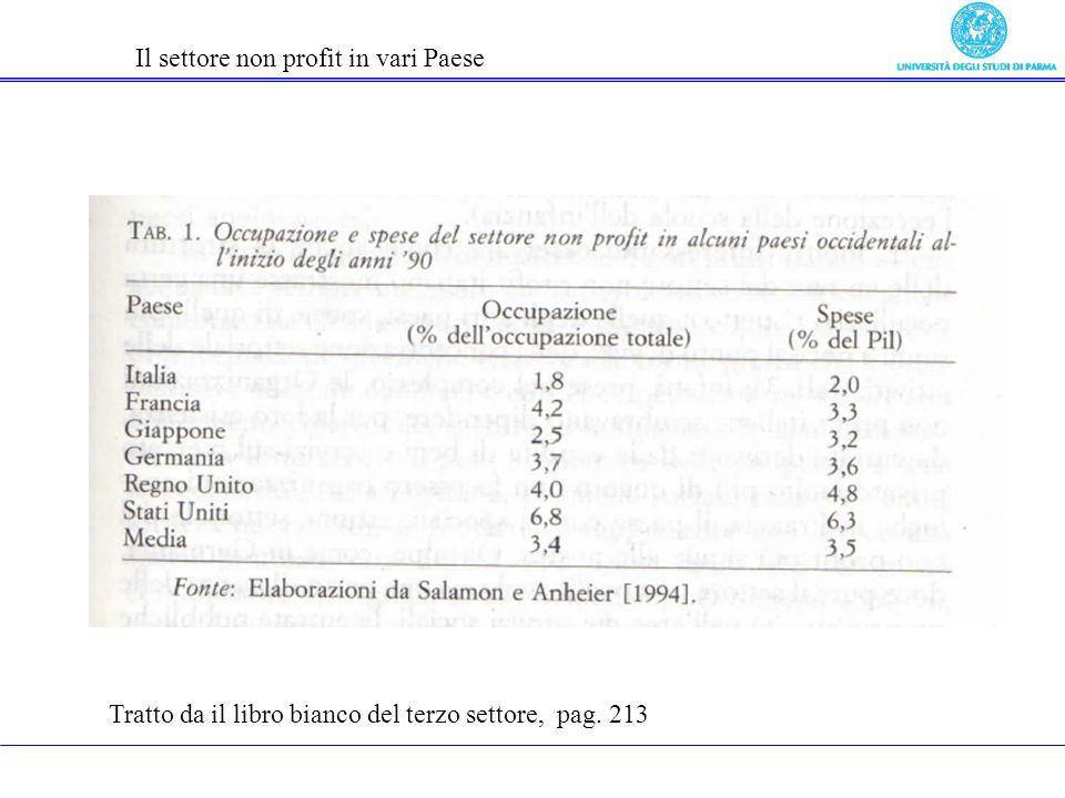 Il settore non profit in vari Paese Tratto da il libro bianco del terzo settore, pag. 213