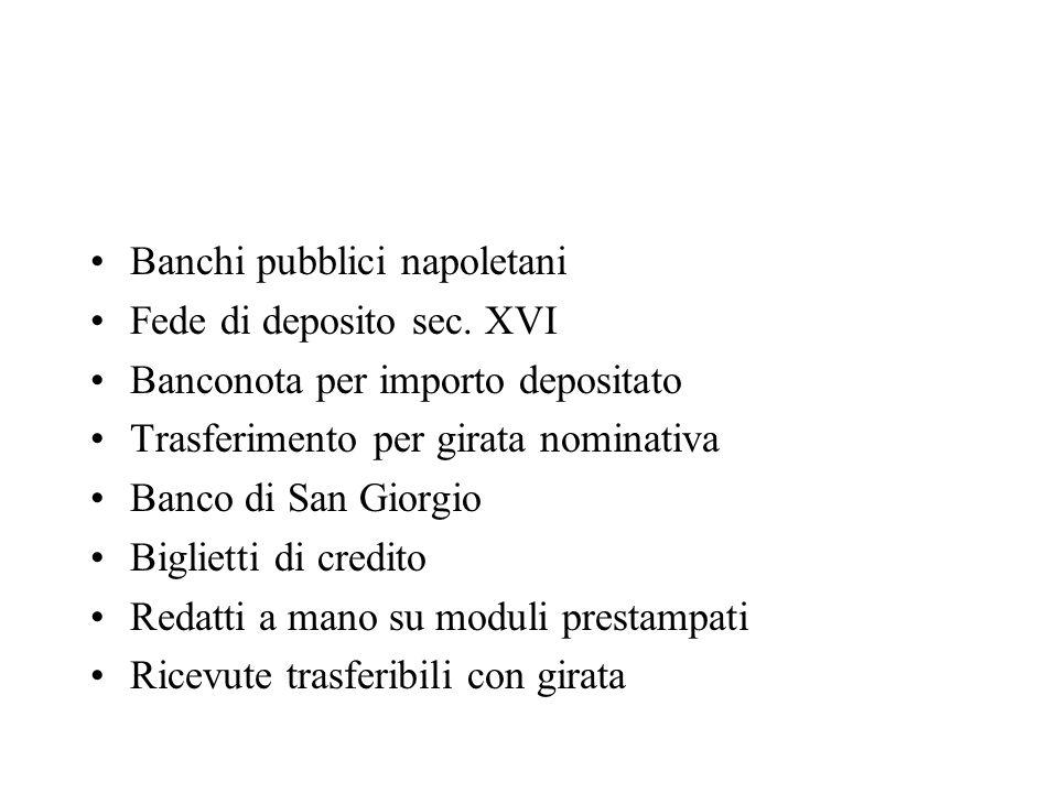 Banchi pubblici napoletani Fede di deposito sec. XVI Banconota per importo depositato Trasferimento per girata nominativa Banco di San Giorgio Bigliet