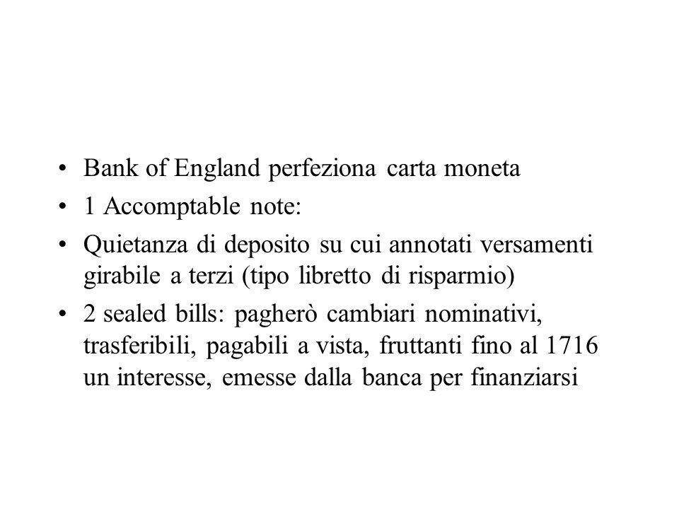 Bank of England perfeziona carta moneta 1 Accomptable note: Quietanza di deposito su cui annotati versamenti girabile a terzi (tipo libretto di rispar