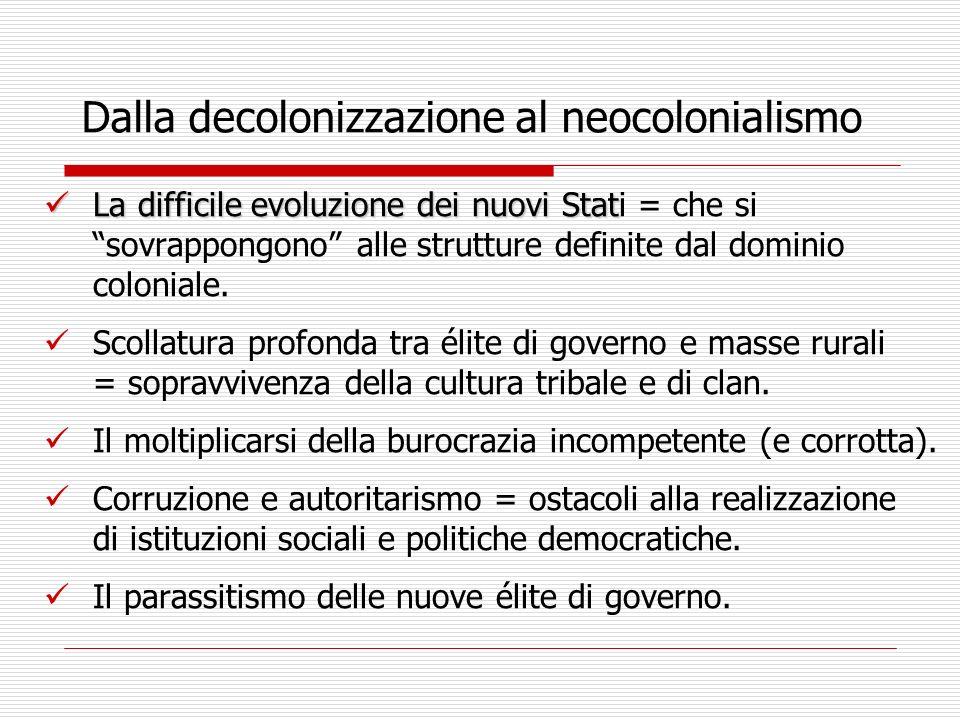 Dalla decolonizzazione al neocolonialismo La difficile evoluzione dei nuovi Stat La difficile evoluzione dei nuovi Stati = che si sovrappongono alle strutture definite dal dominio coloniale.
