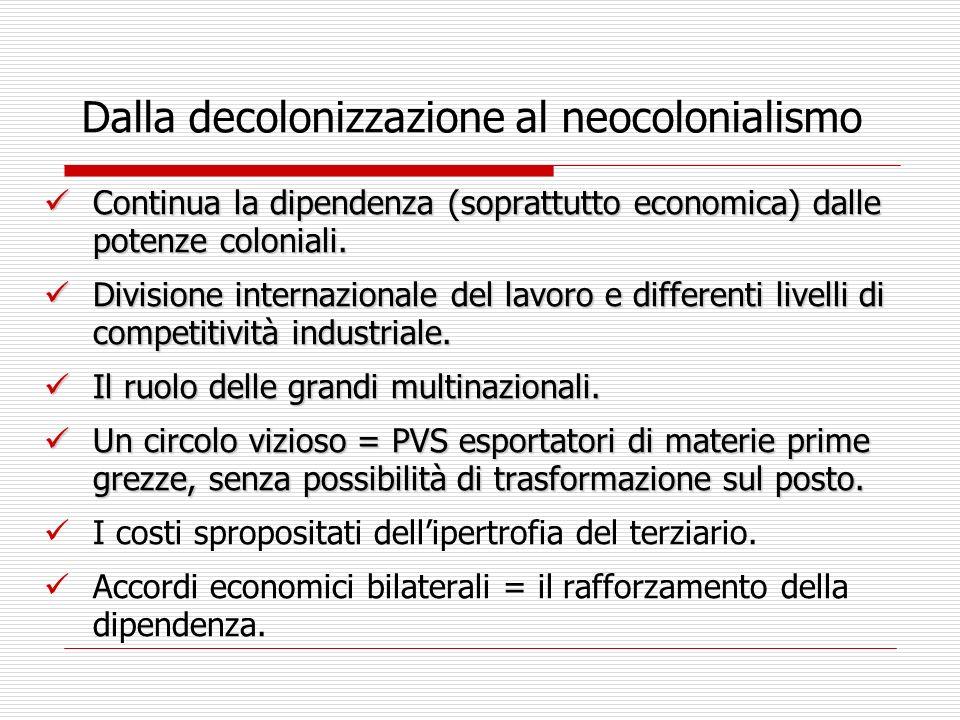 Dalla decolonizzazione al neocolonialismo Continua la dipendenza (soprattutto economica) dalle potenze coloniali. Continua la dipendenza (soprattutto