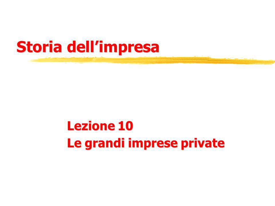 Storia dellimpresa Lezione 10 Le grandi imprese private