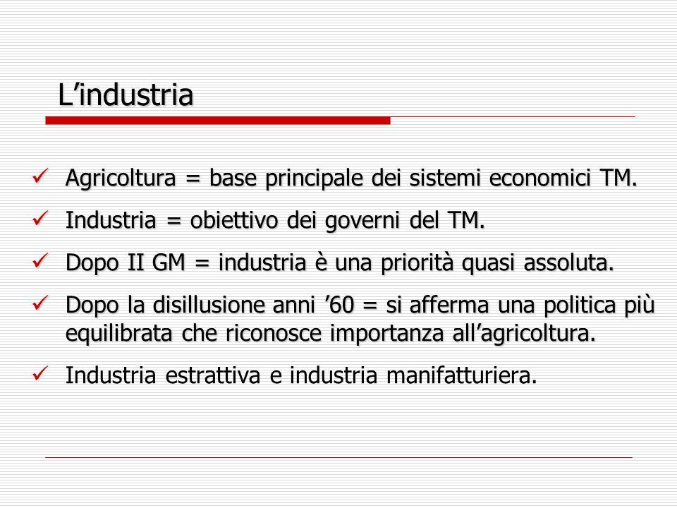 Lindustria Agricoltura = base principale dei sistemi economici TM.
