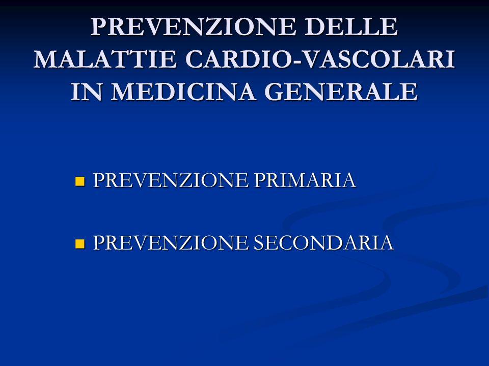 PREVENZIONE DELLE MALATTIE CARDIO-VASCOLARI IN MEDICINA GENERALE PREVENZIONE PRIMARIA PREVENZIONE PRIMARIA PREVENZIONE SECONDARIA PREVENZIONE SECONDAR