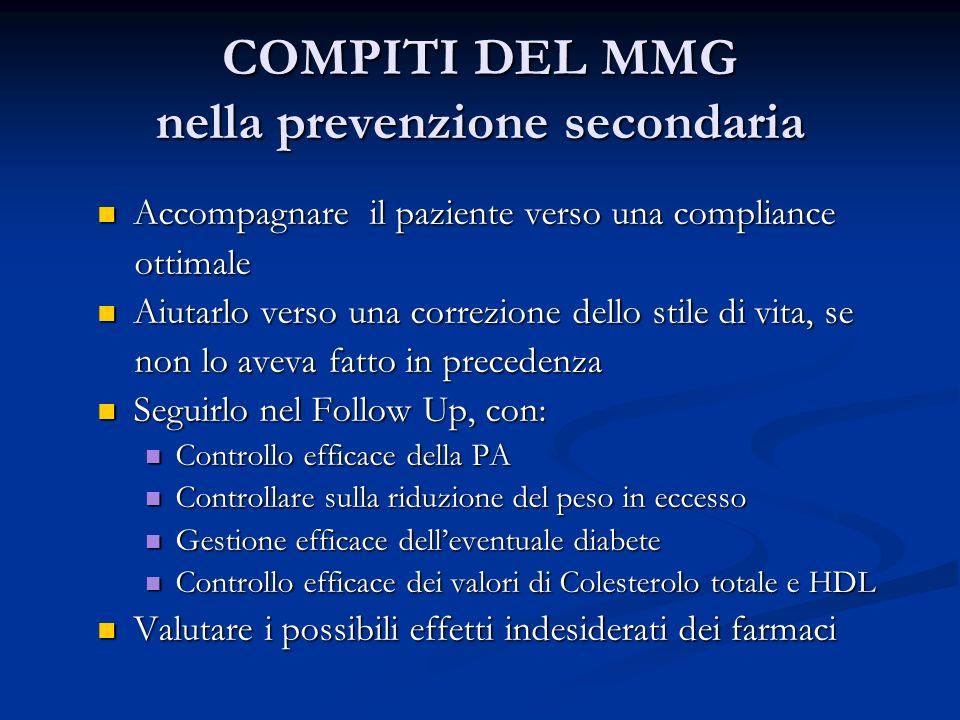COMPITI DEL MMG nella prevenzione secondaria Accompagnare il paziente verso una compliance Accompagnare il paziente verso una compliance ottimale otti