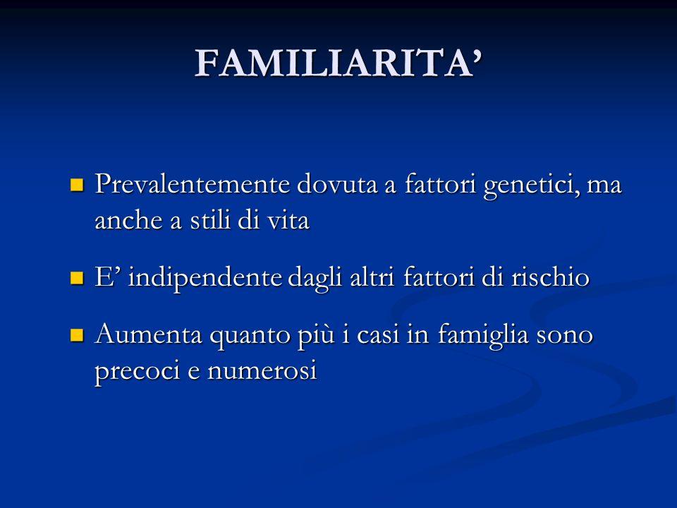 FAMILIARITA Prevalentemente dovuta a fattori genetici, ma anche a stili di vita Prevalentemente dovuta a fattori genetici, ma anche a stili di vita E
