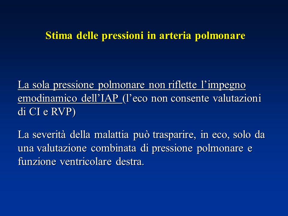 La sola pressione polmonare non riflette limpegno emodinamico dellIAP (leco non consente valutazioni di CI e RVP) La severità della malattia può trasp