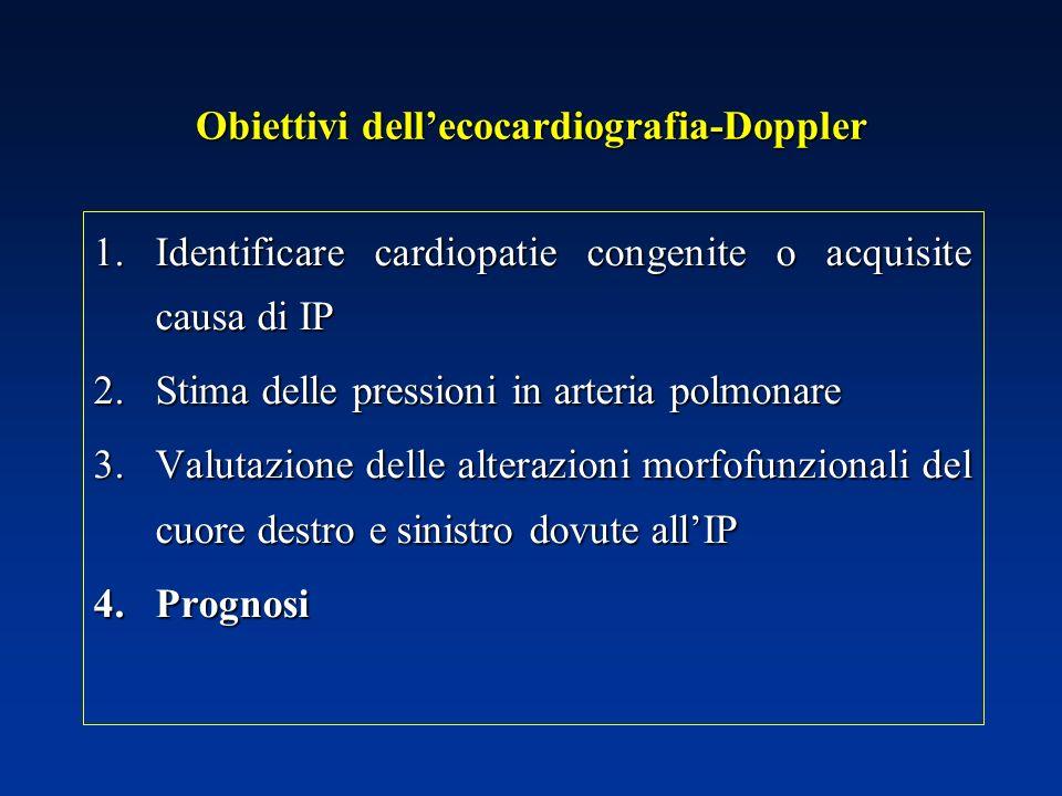 Obiettivi dellecocardiografia-Doppler 1.Identificare cardiopatie congenite o acquisite causa di IP 2.Stima delle pressioni in arteria polmonare 3.Valu