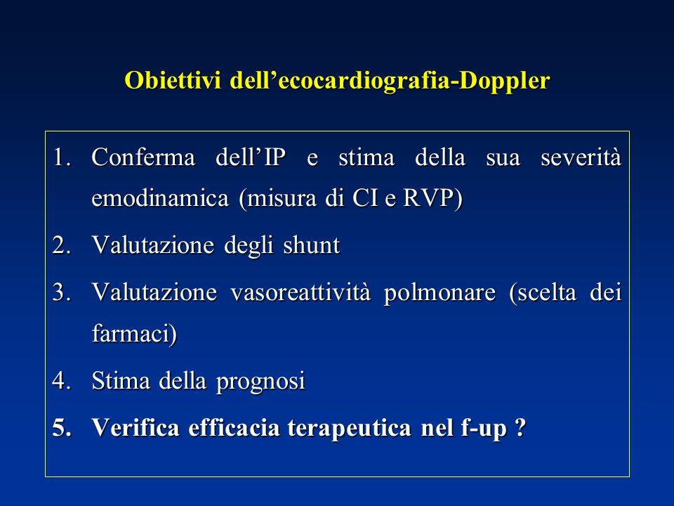 Obiettivi dellecocardiografia-Doppler 1.Conferma dellIP e stima della sua severità emodinamica (misura di CI e RVP) 2.Valutazione degli shunt 3.Valuta