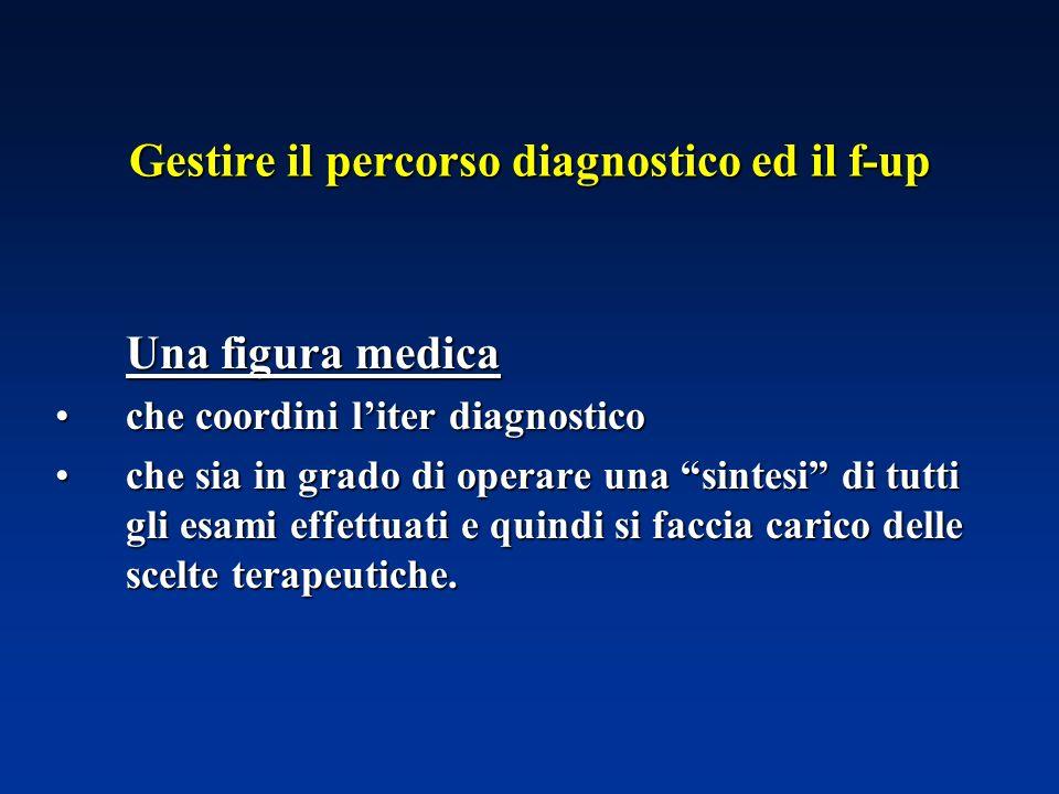 Gestire il percorso diagnostico ed il f-up Una figura medica che coordini liter diagnosticoche coordini liter diagnostico che sia in grado di operare