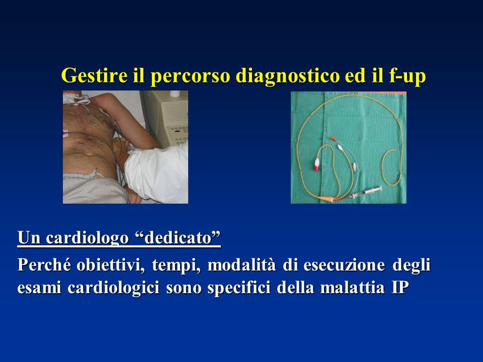 Gestire il percorso diagnostico ed il f-up Un cardiologo dedicato Perché obiettivi, tempi, modalità di esecuzione degli esami cardiologici sono specif
