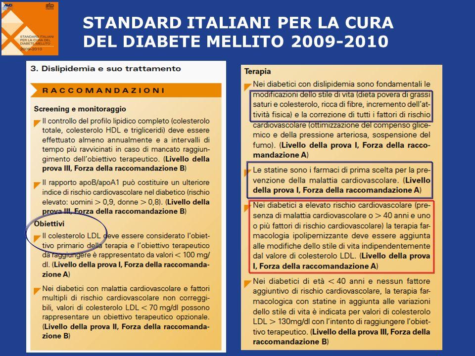 STANDARD ITALIANI PER LA CURA DEL DIABETE MELLITO 2009-2010