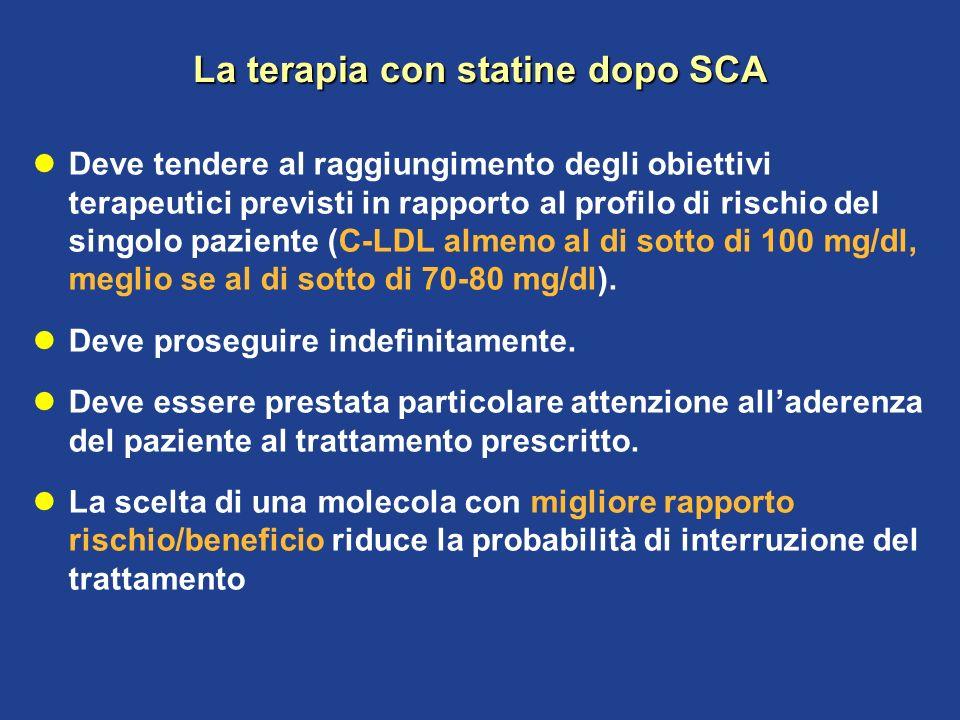 La terapia con statine dopo SCA Deve tendere al raggiungimento degli obiettivi terapeutici previsti in rapporto al profilo di rischio del singolo pazi